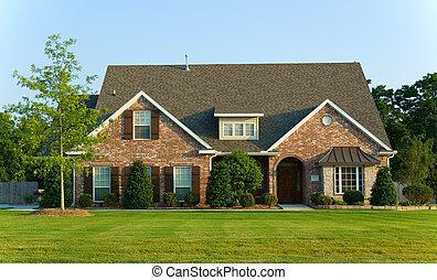vacker, hem, egenskap, -