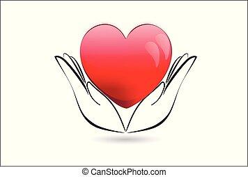 vacker, hjärta, avbild, vektor, gårdsbruksenheten räcker, logo, ikon