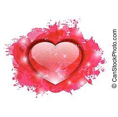 vacker, hjärta, glasaktig, grunge, droppar, valentinkort, rosa, dag