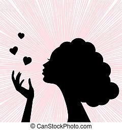 vacker, hjärta, kvinna, silhuett, ansikte, kyss