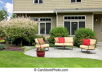 vacker, hus, area., bakgård, sittande