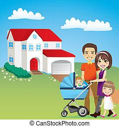 vacker, hus, familj