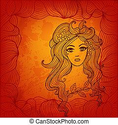 vacker, illustration, stylized, vektor, design, hair., ...