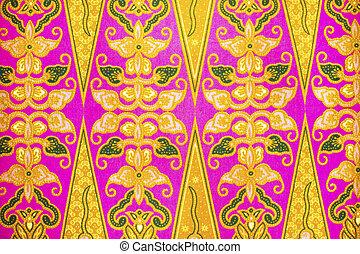 vacker, indones, konst, mönster, Malaysiska,  batik