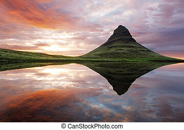 vacker, island, fjäll landskap