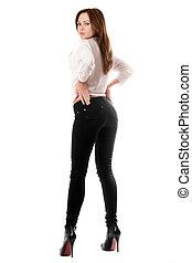 vacker, jeans, snäv, svart, sexig, flicka