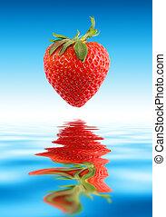 vacker, jordgubbe, över, water.
