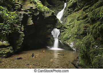vacker, känna, saga, yppig, magisk, vattenfall, grönt skog,...