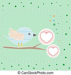 vacker, kärlek, vektor, hjärtan, helgdag, fåglar, kort, trevlig