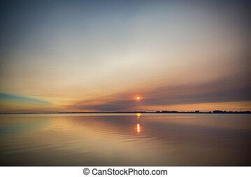 vacker, kanada, ontario, insjö, solnedgång, sydvästlig, erie...