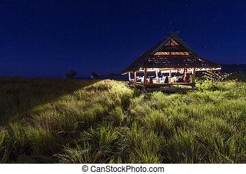 vacker, kenawa, natt, hus, läger, sky, starry, liten ö