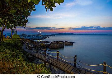 vacker,  khao, östlig, scenisk, medborgare, Parkera,  leamya, ö,  Thailand, Gryning,  Rayong,  samed