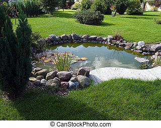 vacker, klassisk, trädgård, fisk damm, trädgårdsarbete,...