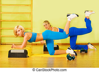 vacker, Klubba, kvinnor, exercerande,  fitness