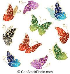 vacker, konst, fjäril, flygning, blommig, gyllene, prydnad