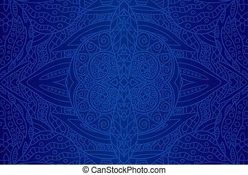 vacker, konst, med, seamless, blå, etnisk, mönster