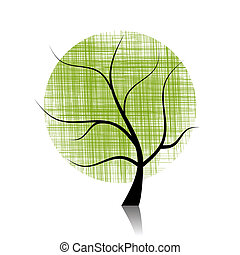 vacker, konst, träd