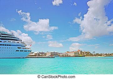 vacker, kryssning skeppa, docked, in, nassau, -, bahamas