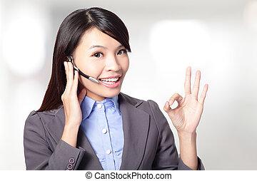 vacker, kund, kvinna, service, hörlurar med mikrofon,...