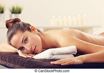 vacker, kurort, väntan, kvinna, massera