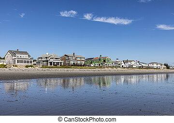 vacker, kustlinje, med, strand, in, råg, ny hampshire