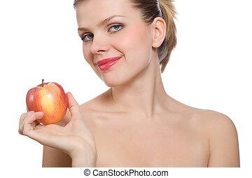 vacker kvinna, äpple, ung, holdingen, blondin, röd