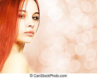 vacker kvinna, över, suddig fond, redhead, abstrakt