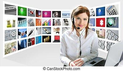 vacker kvinna, affär, helpdesk, hörlurar, tech, redhead