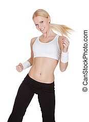 vacker kvinna, avnjut, zumba, fitness