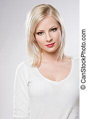 vacker kvinna, avslappnad, makeup., elegant, blond