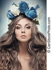 vacker kvinna, blomma, wreath.
