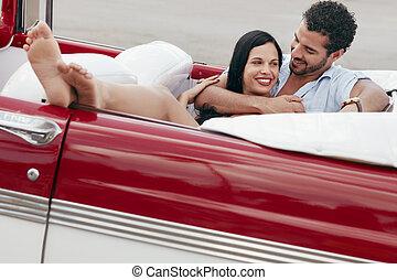 vacker, kvinna,  cabriolet, bil, Krama,  man