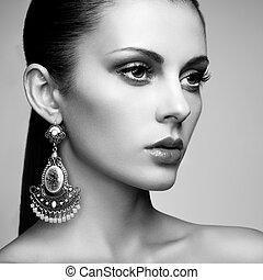 vacker kvinna, earring., smycken, acce, ung, stående
