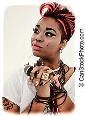 vacker, kvinna, färgrik, ansikte, fingernagel,  designer, svart, manikyr