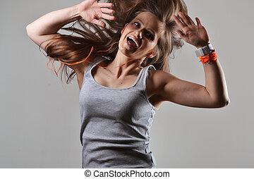 vacker kvinna, fitness, dansande