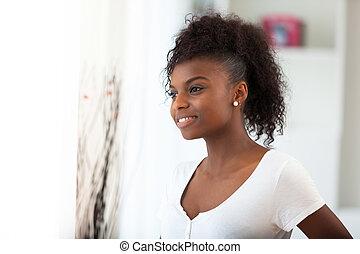 vacker kvinna, folk, -, amerikan, svart, afrikansk, stående