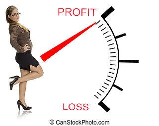 vacker kvinna, framställ, nära, profit, förlust, meter