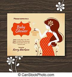 vacker kvinna, gravid, årgång, skur, inbjudan, baby