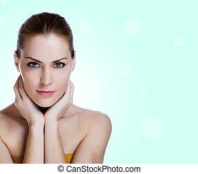 vacker kvinna, hälsosam, ung, skinn, stående