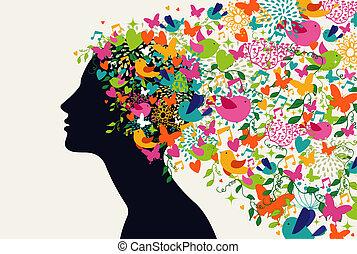 vacker kvinna, hår, krydda, begrepp
