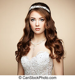 vacker kvinna, hairstyle., foto, elegant, dress., bröllop porträtt, mode, sensuell