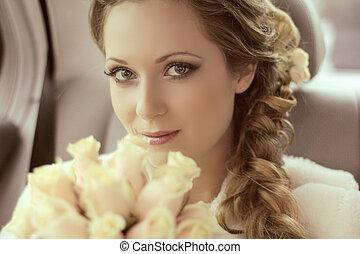 vacker kvinna, henne, bukett, brud, framställ, bröllop porträtt, brud, dag