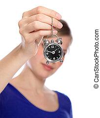vacker kvinna, henne, klocka, alarm, hålla lämna, liten