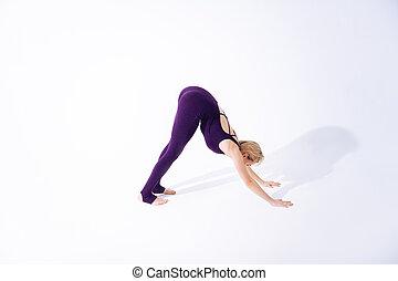vacker kvinna, henne, magra, psychical, träningen