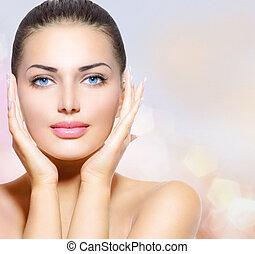 vacker kvinna, henne, skönhet, ansikte, rörande, portrait.,...