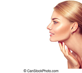 vacker kvinna, henne, skönhet, ansikte, rörande, portrait., kurort, blondin