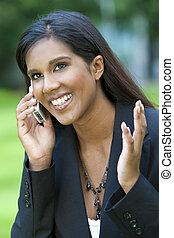 vacker kvinna, henne, ung, mobiltelefon, asiat