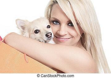 vacker kvinna, holdingen, hund, in, studio