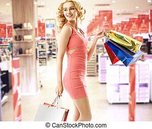 vacker kvinna, in, den, köpcenter