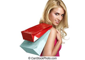 vacker kvinna, inköp, ung, gå, blondin, lycklig